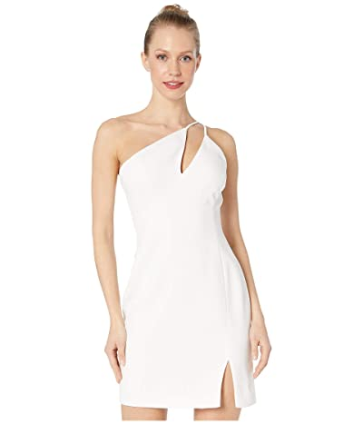 BCBGMAXAZRIA One Shoulder Cut Out Short Cocktail Dress (Off-White) Women