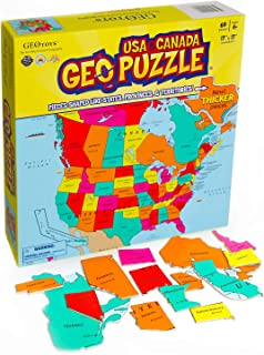 GeoToys — GeoPuzzle USA and Canada — Educational Kid Toys for Boys and Girls, 69 Piece Geography Jigsaw Puzzle, Jumbo Size Kids Puzzle — Ages 4 and up