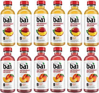 LUV-BOX Variety BAI ANTIOXIDANT Water pack , pack of 12 , 18 fl oz , INFUSION MALAWI MANGO ,INFUSION PANAMA PEACH