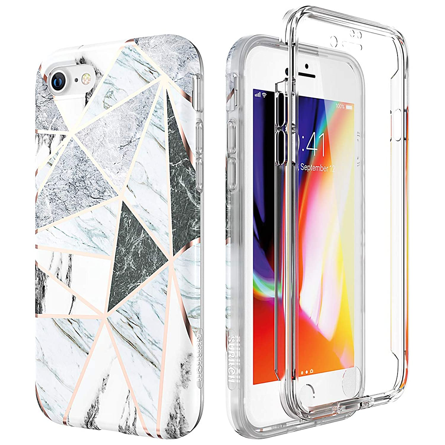 SURITCH Marble iPhone 8 Case/iPhone 7 Case, [Built-in Screen Protector] Full-Body Protection Hard PC Bumper + Glossy Soft TPU Rubber Gel Shockproof Cover Compatible with Apple 7/8- Gray/White