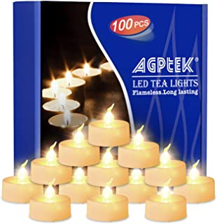 AGPtEK Tea Lights with Flicker,100 Pack Flickering Flameless LED Candles Battery Operated Tealight Candles Long Lasting Tealight for Wedding Holiday Party Home Decoration(Warm White)