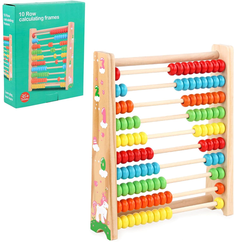 Ábaco de Madera, Juguete Montessori, Abacus Rake Slider,Matemáticas con 100 cuentas de madera, Juguete infantil, , Regalo para niños,Juguetes Educativos de Matemáticas Abacos para Niños