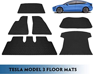 Seven Sparta 6PCS Floor Mats for Tesla Model 3 All-Weather Interior Set Rubber Waterproof Protection Mats Black