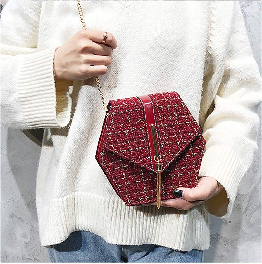QZUnique Women's Woolen Plaid Single Shoulder Hexagon Shape Purse Tassels Classic Grid Handbag