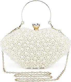 UBORSE Clutch Beige Damen Handtasche Weiß Desigual Tasche Kleine Clutch Perlen Ketten Abendtasche Elegant Umhängetasche Sc...