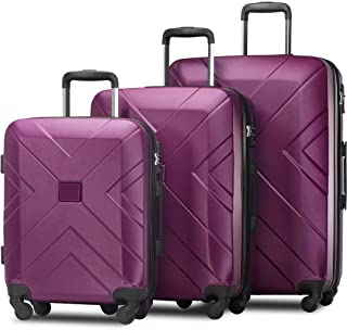 3 Pieces of Adjustable Luggage with Rotating Wheels and TSA Lock Adjustable Telescopic Handle