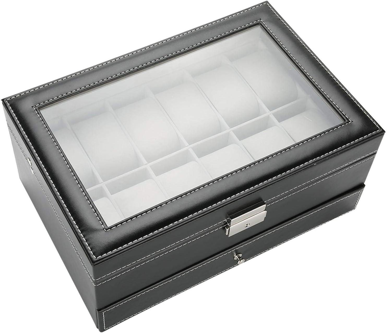 Fockety Watch Drawer Jewelry Box Topics Deluxe on TV Gift Men PU Wristwatch Case