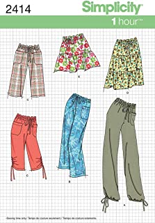 Simplicity 1 Hour Pattern 2414 Misses Pants in 2 Lengths or Shorts and Skirt in 2 Lengths Sizes 8-10-12-14-16