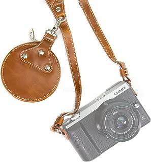 MegaGear Leather Shoulder Neck Strap Belt + Storage Case Carrying Bag - Comfort Padding, Security for All Cameras (SLR) - One Size Fits All (Black)