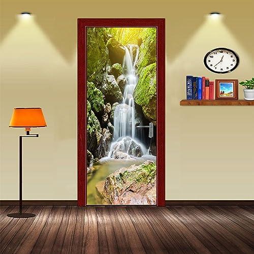 3D Waterfall Door Stickers Mural Decals Removable Waterproof Vinyl Stickers  for Livingroom Bedroom Bathroom 38040416c