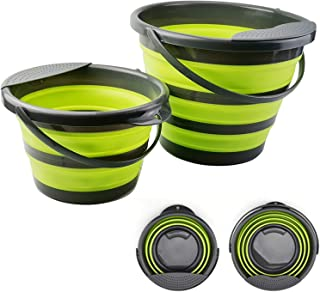 Collapsible Bucket, 【2 Pack】 Foldable Plastic Bucket for House Cleaning, Durable BPA Free Gardening Bucket for Hiking, Bac...