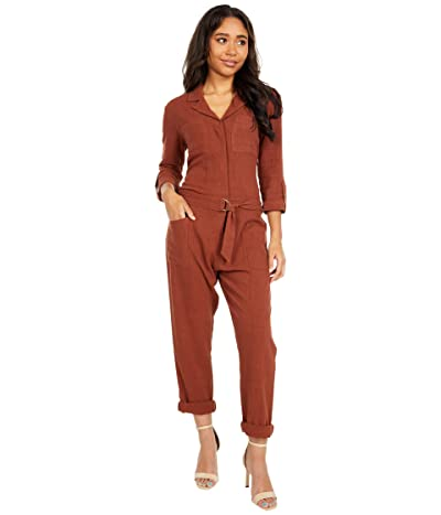 bobi Los Angeles Black Label 3/4 Sleeve Pocket Utility Jumpsuit in Indio Linen (Rust) Women