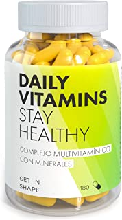 DAILY VITAMINS – Complejo de vitaminas y minerales esenciales - 180 cápsulas (3 meses) – vegano –Multivitaminas hombre / mujer – de Get In Shape