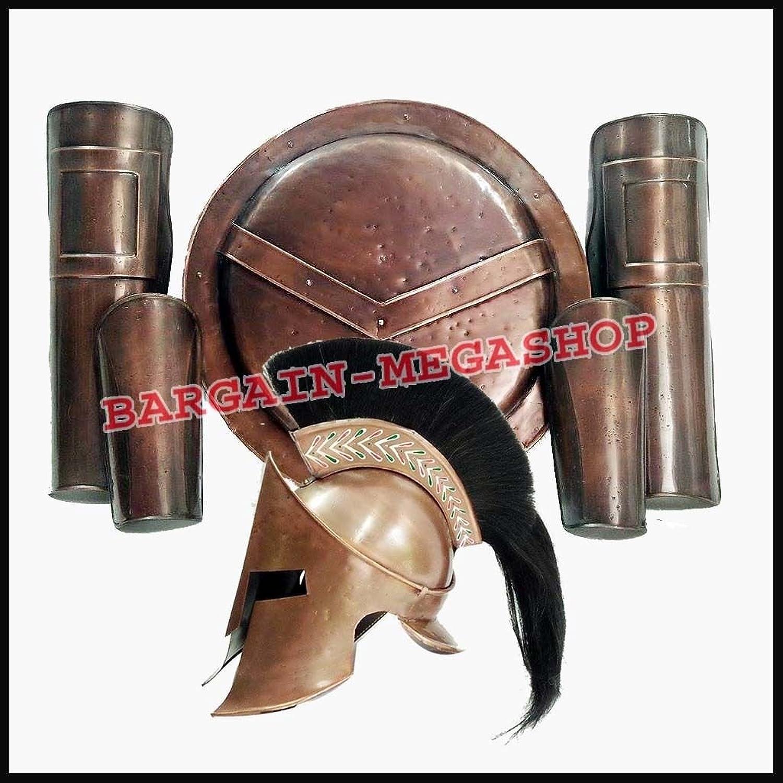 Medieval 300 King Spartan Movie Helmet + Shield + Arm & Leg Guards Set Combo