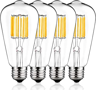 7Pandas Dimmable 4.8W LED Filament 40W Incandescent Bulb Equivalent UL Listed Antique Edison Bulb E26 Vintage Bulb for Pendant Decorative Lighting 2200K 120V 400 Lm 6- Pack ST19 // ST64 Amber