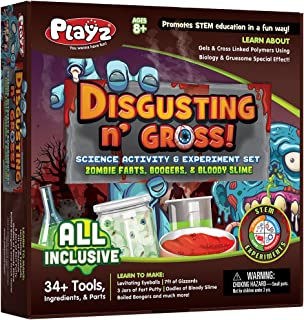Playz Disgusting n' Gross Zombie Farts, Boogers, & Bloody Slime Science Activity & Experiment Set - 34+ Tools to Make Levitating Eyeballs, Gizzards, Fart Putty & Boiled Boogers for Boys & Girls Age 8+