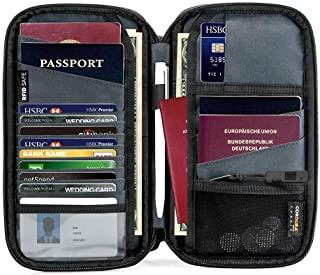 tomtoc Family Passport Holder with a Sim Card Holder & Eject Pin, RFID Blocking Travel Wallet Waterproof Ticket Holder Document Organizer with Chain Strap, Up to 6 Passports 9 Credit Cards