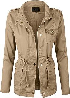 9605c67bae7 Makeitmint Women s Zip Up Military Anorak Jacket with Pockets