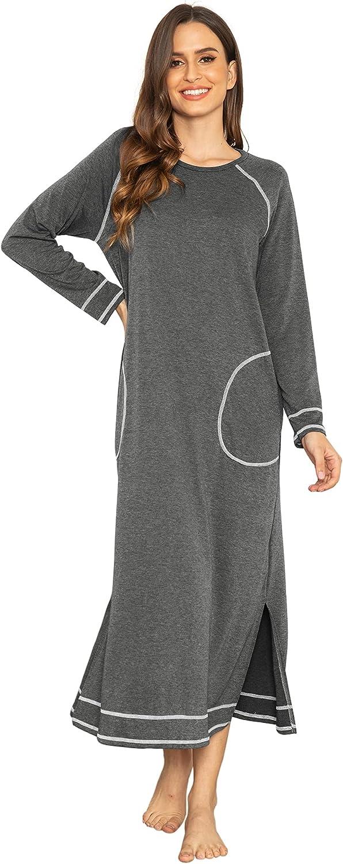 Ekouaer Women's Nightshirt Long Sleeve Nightgown Round Neck Sleepwear Full Length Pajama Dress with Pockets Loungewear S-XXL