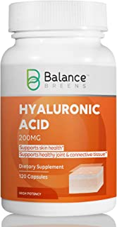 Balance Breens Hyaluronic Acid 200 mg Per Capsule -120 Count - Promotes Youthful Healthy Skin - Supports He...