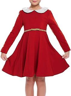 L, Rot FIRSS Damen Kleid Weihnachten Karneval Kost/üm Festlich Abendkleid Polka Dots Weihnachtskleider Elegant V-Ausschnitt Cocktailkleid Vintage Print Partykleider