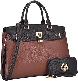 Women s Fashion Signature Top Handle Handbag 2 Pcs Set Satchel Hobo with  Wallet 443733f8fbc81