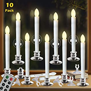 Window Candles with Remote Timers Battery Operated Flickering Flameless Led Electric Candle Lights with 10pcs Silver Base and 10pcs Suction Cups Taper Candle Holder for Christmas Decorations