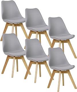 WOLTU 6X Sillas de Comedor Dining Chairs Silla Tower Madera Silla de Escritorio Asiento Acolchado en Cuero Sintético y Polipropileno Silla de Cocina Silla Conferencia Gris BH29gr-6