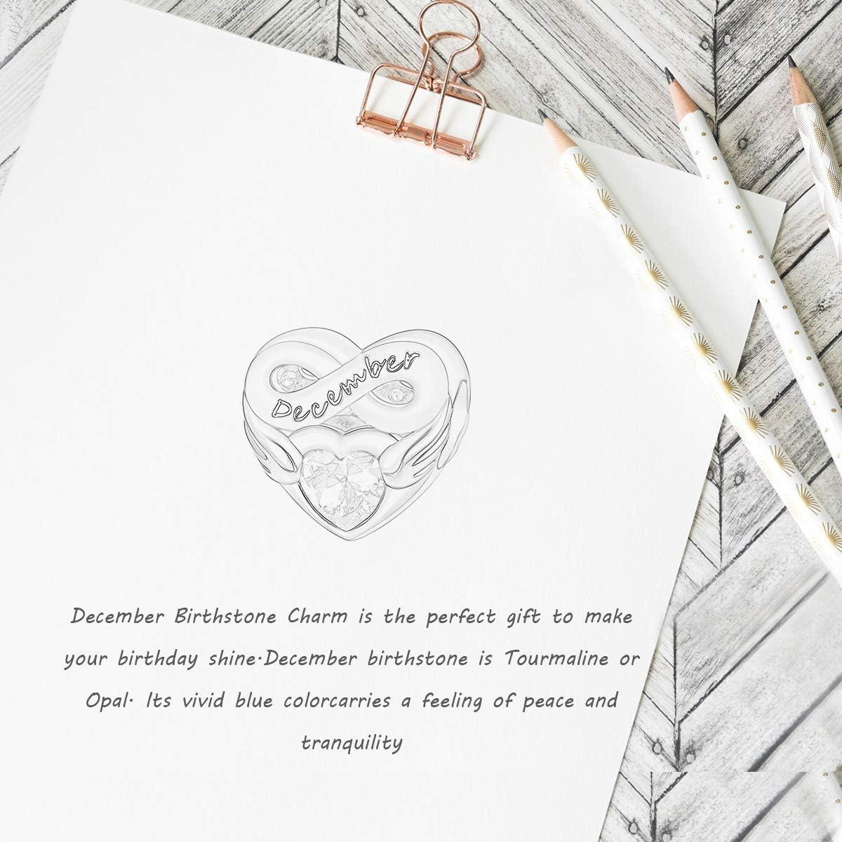 Geburtstagsgeschenk mit Schmuckschatulle FOREVER QUEEN Herz Geburtsstein Charm Bead f/ür Frauen 925 Sterling Silber Herz Charm Anh/änger f/ür Armband