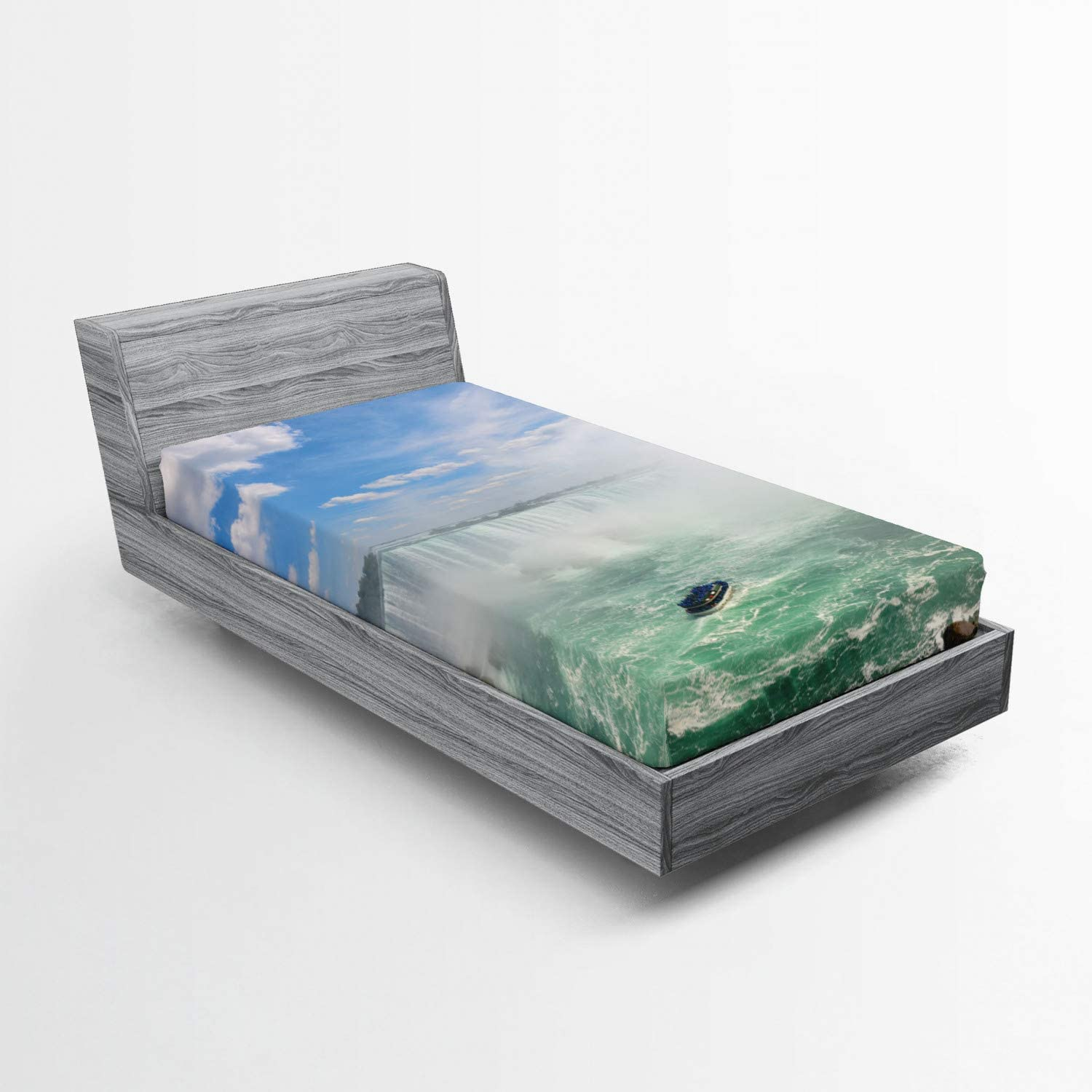 Lunarable Waterfall Fitted Super sale Sheet Boat at Horseshoe Niagar Limited Special Price Falls