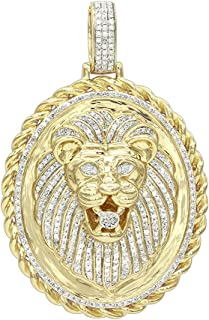 Men's Medallion 14K Rose, White or Yellow Gold Real Diamond Lions Head Pendant 1ctw by Luxurman