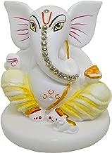 Lord Ganesha Vinayaka Idol for Car Dashboard, Home Decor, White Marble God Ganesh Ganpati Statue 3.5