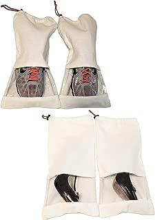 Earthwise 鞋储物袋 * 纯棉带抽绳和透明窗(4 件套)