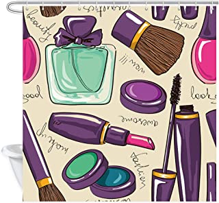 NYMB Girly Shower Curtain, Cosmetic and Make Up with Perfume and Lipstick Nail Polish Brush Modern City Lady, Fabric Bathroom Decorations, Bath Curtains 12PCS Hooks, 69X70 inches