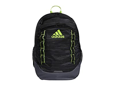 adidas Excel V Backpack (Looper Black/Onix/Black/Signal Green) Backpack Bags