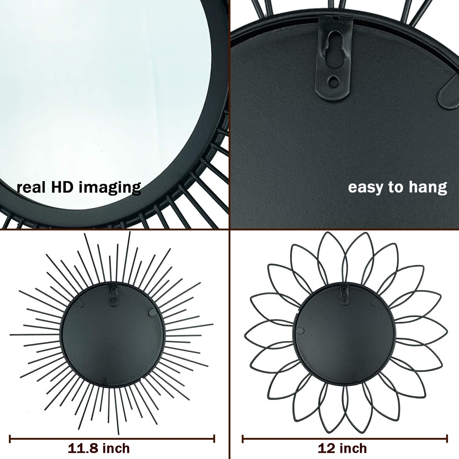 Uaussi 3 Pack Metal Wall Mirrors Black Circle Mirror Classic Decorative Hanging Wall Art Modern for Home Decor Bathroom Bedroom Living Room