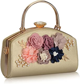 Emma Smith Evening Bag for Women, Floral Wedding Evening Hand carry Purse Bride Party Clutch Bag