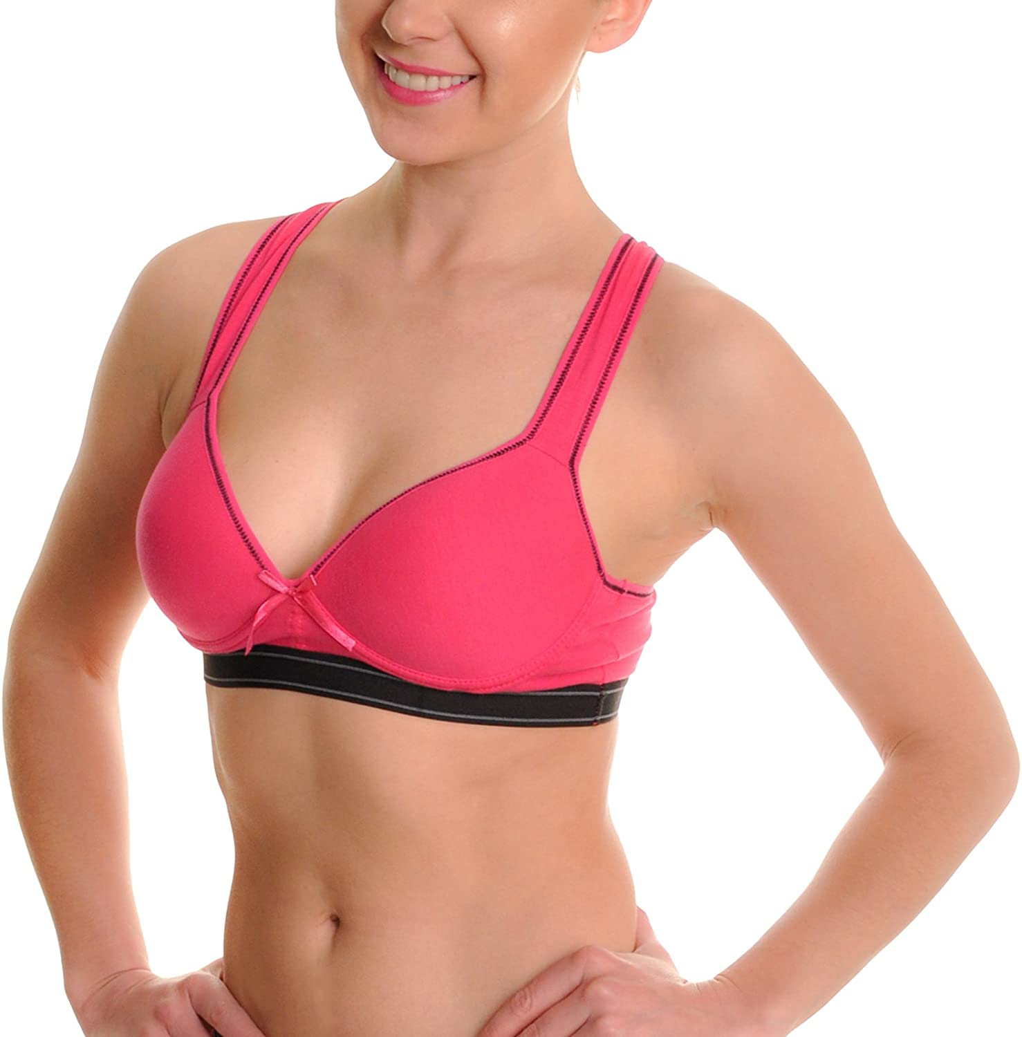 Angelina Cotton Sports Bras (6-Pack)