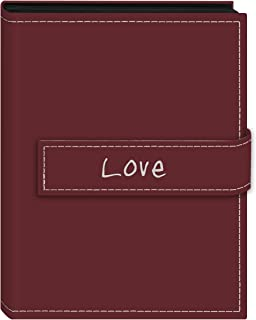 """Pioneer Photo Albums 36-Pocket 4 by 6-Inch Embroidered """"Love"""" Strap Sewn Leatherette Cover Photo Album, Mini, Burgundy"""