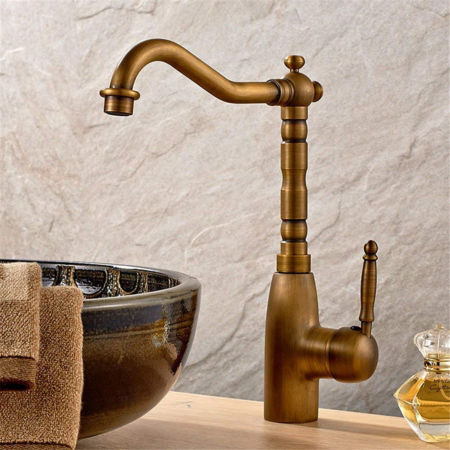 FERZA home Sink Mixer Tap Bathroom Kitchen Basin Water Tap Leakproof Save Water Kitchen Antique Copper-Wide Single-Mix Tap Cold Water Kitchen A