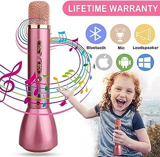 Microphone for Kids Cordless Child Karaoke Microphone Wireless Kids Microphone with Bluetooth Speaker Portable Handheld Toy Karaoke Machine Music Sing Microphone for Girl Boy Children Home (Rose Gold)