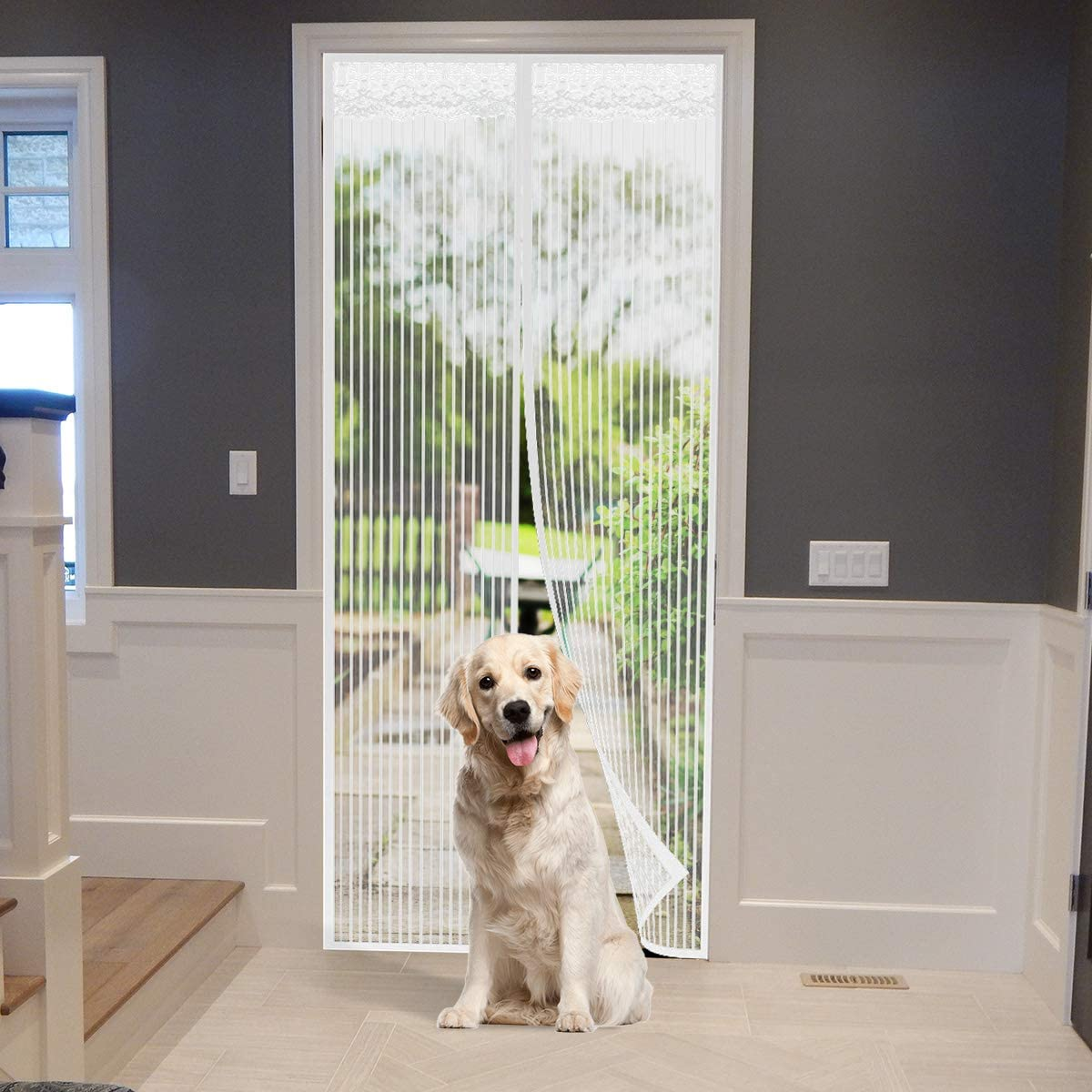 """Magnetic Fly Insect Screen Door, Mesh Curtain - Keeps Mosquitoes Insects Out 35"""" x 82"""" Max White"""