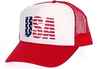 American Flag Patriotic USA Logo Classic 5 Panel Mesh Snap Back Trucker Hat Red