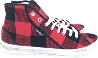 Sneeky Sneakers Wool/Canvas Tartan Sneakers Red 45