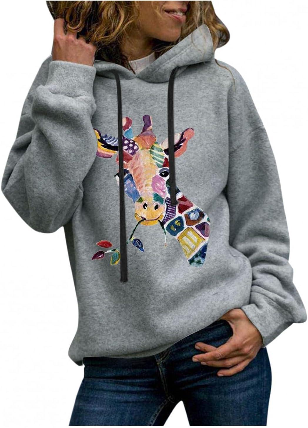 JIEXIJIA Finally resale start Women's Casual Full Sleeve Giraffe Print Genuine Lon Sweatshirt