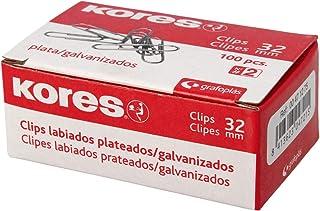 Kores 471275 Caja de Clips Galvanizados, Plateado, n º 2 (32 mm): Amazon.es: Oficina y papelería