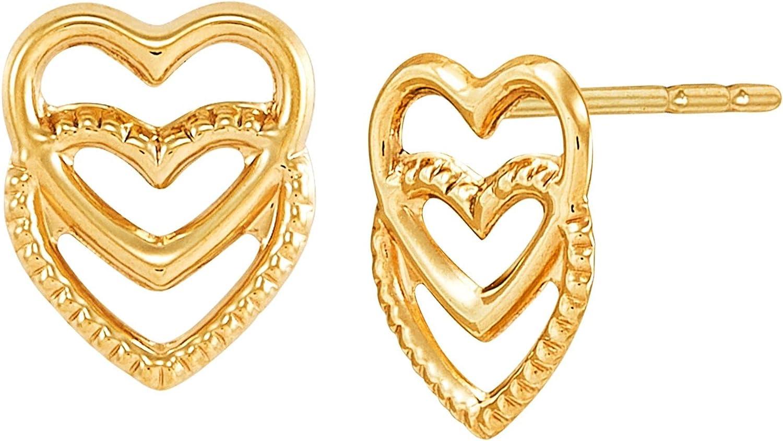 Welry Double Heart Stud Earrings in 14K Gold