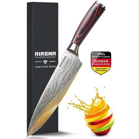 """Couteau Chef, Couteau Cuisine Professionnel 8""""- Couteau japonais - Acier inoxydable allemand - Meilleur rapport qualité prix avec étui et emballage cadeau exquis - Couteaux ultra-tranchant - AIRENA"""