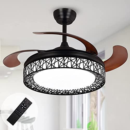 Ohniyou 42'' Retractable Ceiling Fans Indoor with Light and Remote Flush Mount Black Cage Ceiling Fan Light Kit Farmhouse Chandelier LED Lighting Fixture for Living Room, Kitchen, Dining Room, Bedroom