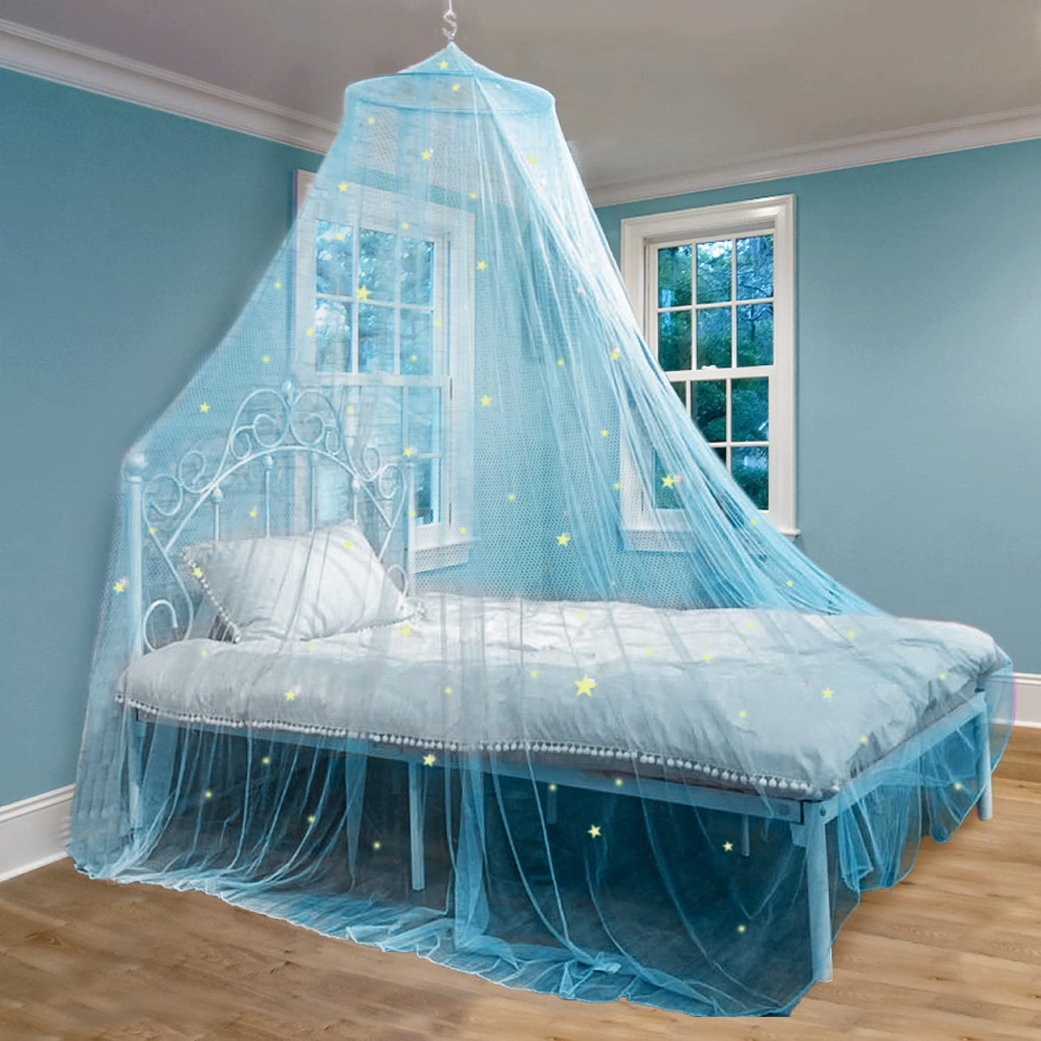 Bed Canopy with Glow in The Dark Stars for Girls, Kids and Babies, Net Use to Cover The Baby Crib, Kid Bed, Girls Bed Or Full Size Bed, Fire Retardant Fabric, Blue